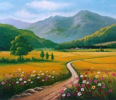 Landscape Drawings, Landscape Pictures, Abstract Landscape, Nature Pictures, Landscape Paintings, Beautiful Pictures, Scenery Paintings, Mountain Paintings, Amazing Paintings