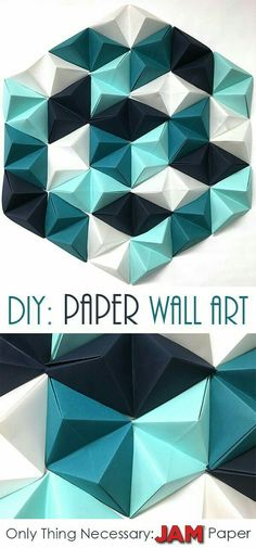 Read on to find 8 easy steps to make the perfect geometric paper wall art piece!… Read on to find 8 easy steps to make the perfect geometric paper wall art piece! The only necessary item you need is JAM Paper®! READ ON Diy Wand, Pot Mason Diy, Mason Jar Crafts, Paper Wall Art, Diy Wall Art, Paper Walls, Wall Art Crafts, Paper Paper, 3d Art On Paper