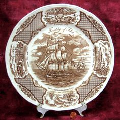Brown Transferware Plate Fair Winds Dinner Plate Nautical Friendship Salem Sailing Ships by AntiquesAndTeacups on Etsy