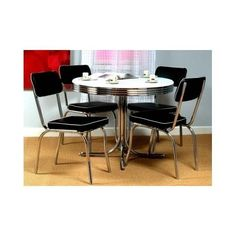 Dining Set Red Retro Table Chairs Chrome Kitchen Dinette Vintage Metal for sale online Dining Room Sets, Retro Dining Rooms, Dining Furniture Sets, Kitchen Dining Sets, Kitchen Chairs, Dining Room Table, Dining Chairs, Room Chairs, Desk Chairs