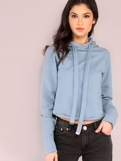 Shop Cropped Pocketless Hoodie BLUE online. SheIn offers Cropped Pocketless Hoodie BLUE & more to fit your fashionable needs.