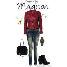 """Madison (Heavy Rain)"" by console-to-closet on Polyvore - This outfit is inspired by Madison of Heavy Rain. I decided to do something similar to her in-game outfit, but tweak it slightly. Instead of a bomber jacket, I found a burgundy leather racing jacket which I paired with a black tank top. I went for a darker wash of jean and paired it with black ankle boots and a black tote bag. Lastly, I found an origami swan necklace - just like in the game!"