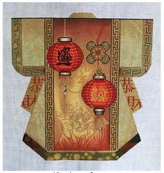 Lani 773a Chinese Lantern Kimono Medium needlepoint canvas