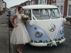 Lulu-VW split screen wedding camper picking up the beautiful bride