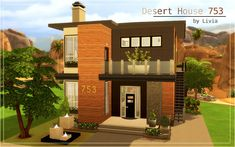 This two-storey desert house is a contemporary style home that blends in with its off-the-grid surroundings. Located in Sims 4 - Oasis Springs world.