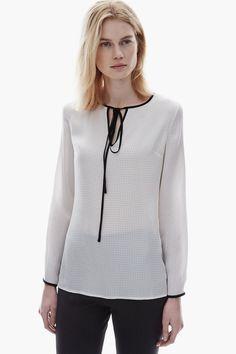 Camisa de seda con estampado de lunares