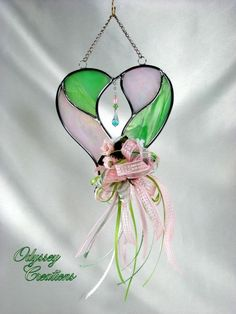 Decorated Stained Glass Heart Suncatcher in Pale Pink and Green with Swarovski briolette in Open Center
