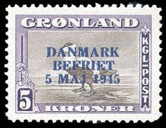 Greenland, 1945, 5kr Liberation overprint (Facit 27, Scott 19)