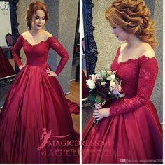 2016 Romantic Burgundy Prom Evening Dresses Special Occasion Dress Ball Gown Sheer Neck Jewel Lace Long Sleeves Formal Celebrity Gowns Party Prom Dresses Beaded Formal Evening Gown Crystal Evening Gowns Online with 135.0/Piece on Magicdress2011's Store | DHgate.com
