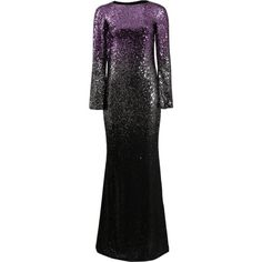 Pamella Roland Ombre Chiffon Beaded Gown ($6,995) ❤ liked on Polyvore featuring dresses, gowns, beaded gown, open back evening gowns, evening gowns, long dresses and beaded cocktail dress