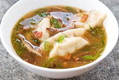A quick and easy recipe for Asian-Style Dumpling Soup from America's Test Kitchen. Chicken Dumpling Soup, Dumplings For Soup, Chicken Soup, Kitchen Recipes, Soup Recipes, Cooking Recipes, Dinner Recipes, American Test Kitchen, Cooks Illustrated Recipes