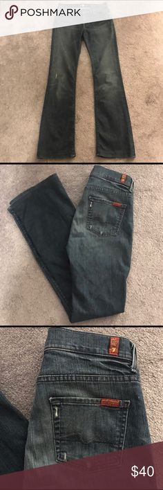 7FAM High Waist Bootcut Jeans Excellent condition. Size 26. 7 for all man kind distressed jeans. High waist bootcut style. Dark blue wash. Comfortable and stretchy.  7FAM JEANS. 7 for all mankind Bootcut jeans. 7 For All Mankind Jeans Boot Cut