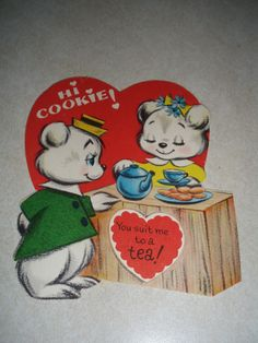 Vintage 1960's  Novelty Valentine's Day Card Hi Cookie You Suit Me to a Tea