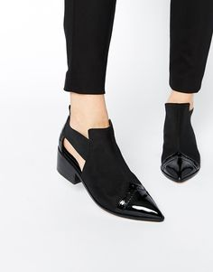 ASOS+RAMSFORD+Neoprene+Pointed+Cut+Out+Western+Boots