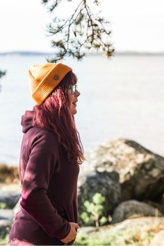 Summer Outdoor Outfit with a beanie for Women. Nature Photography. Organic Merino Wool Beanie by VAI-KØ.