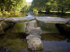 Tarr Steps a Prehistoric Clapper Bridge across the River Barle in Exmoor National Park, England Photographic Print by Mark Hannaford at AllPosters.com