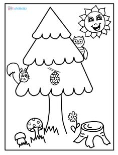 Les - omalovánka Shrubs, Coloring Pages, Character, Trees, Woodland Forest, Pages To Color, Colouring Pages, Kids Coloring, Home Decor Trees