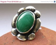 Green Agate and Silver ring  silver and stone by rioritajewelry, $99.00