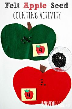 Felt Apple Seed Counting Activity Perfect For Fall Math Lesson Fun - abccreativelearning.com