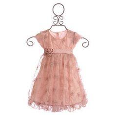 Biscotti Little Girls Dusty Rose Flower Overlay Dress