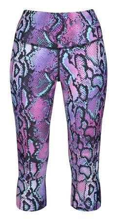 Vibrant And Wild, Tikiboo's Petrol Python LYCRA Capris Feature A Dazzling Palette Of Purple, Black And Turquoise Reptile Scales. Our Length Leggings Finish Below The Knee, Offering A Firm Fit And Opaqueness For Confident Workouts. Reptile Scales, Drawstring Waist, Python, Confident, Harem Pants, Workouts, Capri, Vibrant, Palette