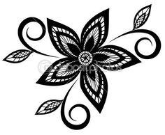 Line Art Flower Design : Clipartist four flowers flora black white line art tattoo