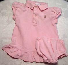 9 Month Ralph Lauren Baby Girls Spring Pink Ruffle Knit Cotton Dress Set Bloomer #RalphLauren #EverydayDressy