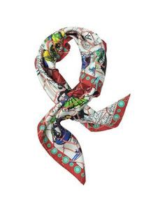 **New arrival** -Lacroix Ceramic Print Silk Square Scarf -   Lacroix Ceramic Print Silk Square Scarf crafted in 100% silk is a stunning accessory made with an artistic touch. Featuring a bold multi-colored fashion sketch print with crackle overlay. Made in Italy.