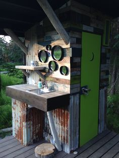 Matilda, our groovy outhouse. Matilda, our groovy outhouse. Cabin Bathrooms, Outdoor Bathrooms, Rustic Bathrooms, Outdoor Shower Enclosure, Outhouse Bathroom, Outdoor Toilet, Composting Toilet, Toilet Design, Cabin Plans