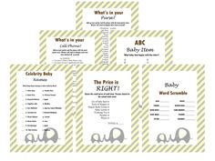 Elephants Theme Baby Shower Games Set, Yellow and Gray, Modern Baby Shower, Baby Shower Game Prize, Unique Baby Shower Games, Modern