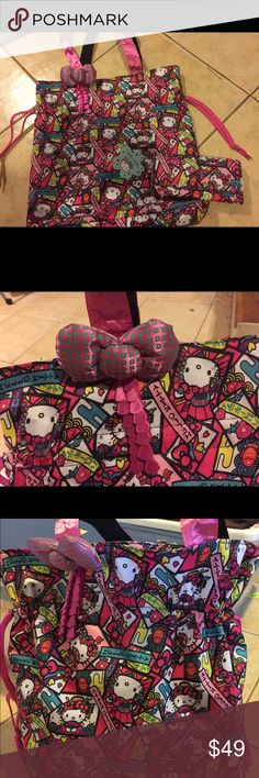 2edc87db0a37 NWT Hello Kitty Kimono drawstring Tote with wallet Brand new with Tag rare  drawstring Tote and