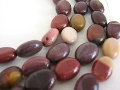 8x11mm Flat Oval Moukaite Gemstone Beads 16 by Beads2string for $3.25