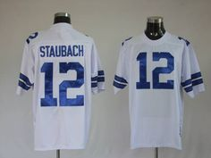 MITCHELL & NESS COWBOYS #12 ROGER STAUBACH WHITE STITCHED THROWBACK NFL JERSEY