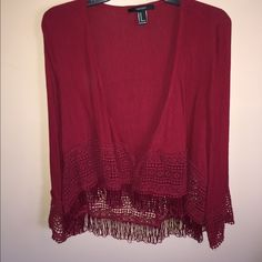 A red half sleeve cardigan A half sleeve red cardigan from Forever 21. Never worn before!! Forever 21 Tops