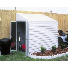 Arrow Shed Yardsaver 4 x 10 ft. Shed - The Arrow Shed Yardsaver 4 x 10 ft. Shed offers spacious external storage that doesn't absorb your whole yard. This versatile lean-to steel storage. Steel Storage Sheds, Steel Sheds, Storage Shed Kits, Wooden Storage Sheds, Firewood Storage, Metal Shed, Bike Shed, Bicycle Storage Shed, Lean To