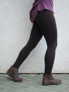 Leggings Knitted Pants Merino Longjohns Brown by deliriumkredens