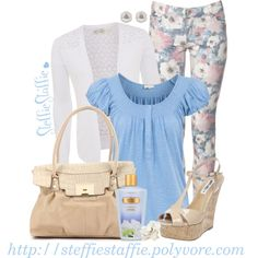 """Baby Blue Floral"" by steffiestaffie on Polyvore"