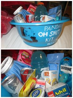 OH SHIT KIT.   Hangover kit   -pepto bismol, gatorade, bandaids, red bull, carmex lip balm, advil, gum, eyedrops, make-up remover wipes, listerine pocketmist, and a icepack !