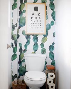 home Awesome cactus removable wallpaper Metallic look Cactus Houses become Homes Article Body: Havin Wallpaper Wall, Wallpaper Toilet, Small Bathroom Wallpaper, Wallpaper Ideas, Toilet Room, Toilet Closet, Downstairs Loo, Boho Bathroom, Bathroom Mural