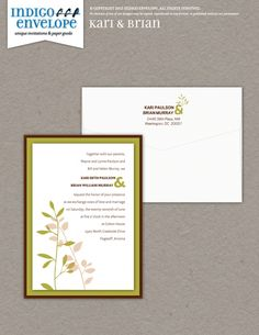 Put a modern, simple botanical motif on your invitation for a fresh design. #botanicalwedding #indigoenvelope