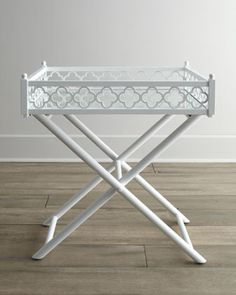 White Fretwork Tray Table at Horchow. #Horchow