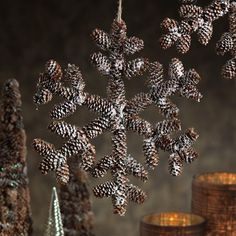 Autumn Frost Pine Cone Snowflake - Set of 4