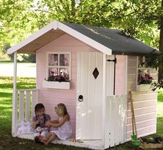 painted wooden playhouse pink - Google Search