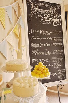 Wedding cake buffet with a chalkboard cake menu and lovely bunting backdrop - love this idea! #wedding #cakebuffet #weddingcake #desserttable #rustic