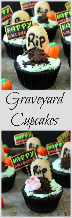 Graveyard Cupcakes #SundaySupper - Rich, decadent chocolate cupcakes topped with a sweet vanilla buttercream frosting topped with simple to make Halloween decorations. @dixiecrystals