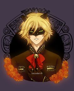 ChatNoir in dia de muertos by @linalowel
