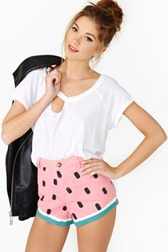 Watermelon Denim Shorts. Love the high waist!! Must get these for the summer :)