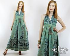 #Vintage #70s Ethnic Print Batik Deer Print #Hippie #Festival #Maxi #Dress, fits XS/S by #shopEBV http://etsy.me/1xvtDKn @Etsy #hippy #boho, $185.00