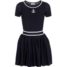 RED Valentino Wool mini dress (325 CAD) ❤ liked on Polyvore featuring dresses, nautical, valentino, vestidos, navy, short dresses, short blue dresses, flared skirt, nautical dress and short fitted dresses