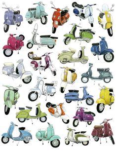 25 Scooter Drawings by Christine Berry